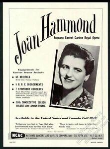 1949 Joan Hammond photo opera singing recital tour booking vintage print ad