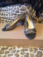 New TARYN ROSE Bronze Gray Animal Open Toe Heels Pumps Shoes Size 40.5 RV $250