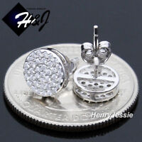 MEN 925 STERLING SILVER 8MM LAB DIAMOND ICED OUT BLING ROUND STUD EARRING*E152