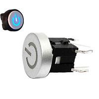 2Pcs 12V Blue LED Power Symbol 10mm  Cap  Momentary Tact Push Button Switch