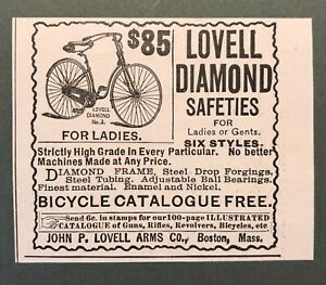 1892 Victorian Print Ad Bicycle for Ladies J.P. Lovell Arms Co. 2T1-52