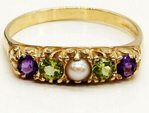 9CT GOLD RING SUFFRAGETTE AMETHYST  PEARL PERIDOT 9 CARAT YELLOW GOLD ETERNITY