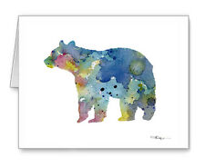 Blue Brown Bear Note Cards With Envelopes