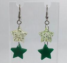 Claro doble y Brillo Acrílico Estrella Verde Pequeño Pendientes G110 Kitsch 5.2 cm lo