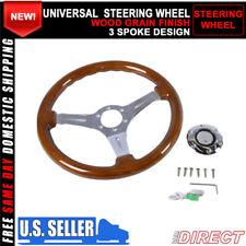 For Universal Jdm 350Mm 6-Hole Wood Grain Deep Dish Chrome Spokes Steering Wheel
