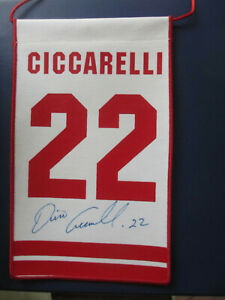 DINO CICCARELLI DETROIT RED WINGS AUTOGRAPHED MINI BANNER