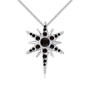 18K WHITE GOLD  PLATED BLACK & CLEAR GENUINE CUBIC ZIRCONIA STAR NECKLACE