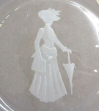 "Vintage Miss Avon Clear Glass 8"" Plate with Frosted Image (Th1567)"