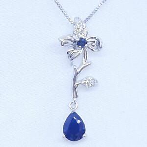 1.70 Kanchanaburi Sapphire & Diamond Cut White Sapphire 925 Silver Pendant
