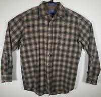 VTG Pendleton Mens 100% Virgin Wool Plaid Flannel Long Sleeve Shirt Sz Medium