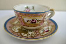 Occupied Japan HP Miniature Cup & Saucer with Gold Beading