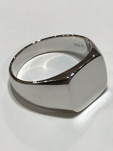 Genuine 925 Sterling Silver Mens Solid Clean SQUARE Signet RING BRAND NEW
