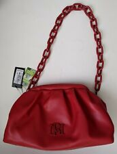 $129 Badgley Mischka Wrapped Frame Clutch Red Vegan Leather Shoulder Bag Chain