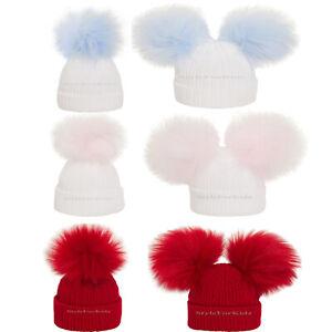 BABY BOYS GIRLS KNITTED HATS NEWBORN - 12 MONTHS POM POM BOBBLE HAT