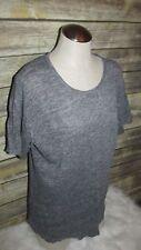 Alternative Apparel Heather Gray Short Sleeve 100% Linen Blouse Shirt Top Sz M