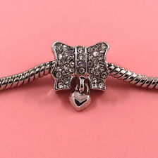 1pcs Silver Bow European Charm Crystal Spacer Beads Fit Necklace Bracelet HOT !!