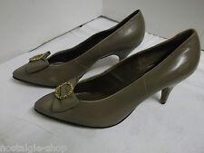 de 1950 60er Jahre NOS Zapatos Tacón Mujer Cuero Verdadero Vintage Talla 5