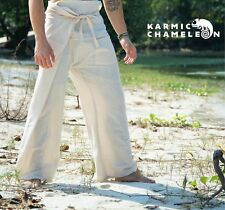 Hemp Thai Fisherman Pants Hippie Beige Yoga Plain Kung Fu Martial Arts Festival