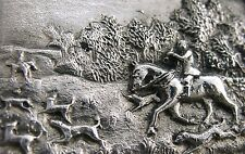 STUNNING ENGLISH STERLING SILVER FOX HUNTING SCENE PICTURE TOP SNUFF BOX 1980