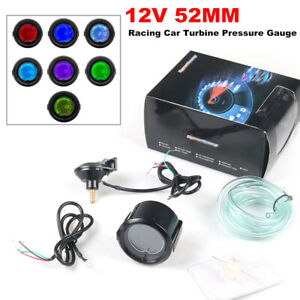 12V 52MM Racing Car Turbine Pressure Gauge Instrument LCD Digital Display Meter