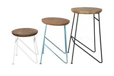 Large Set of Three Stools Retro Design Furniture Aspire Acacia Collection AS02