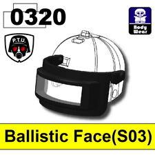 Black Slit Ballistic Face Shield for LEGO army military brick minifigures