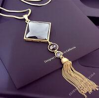 Damen Goldkette Mode Schmuck Collier mit Anhänger GOLD lang Kette 75cm Luxus 33€