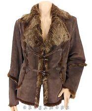 Manteau DERHY Lapin Cuir Porc T 42 XL 4 Veste Hiver fourrure Coat Mantel Abrigo