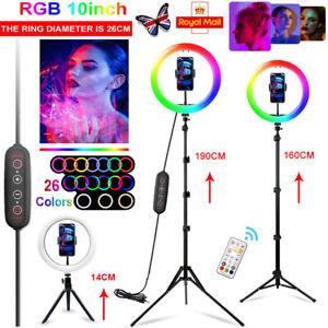 10 Inch RGB Ring Light Tripod Kit Selfie Video Light For Makeup Live Youtube UK