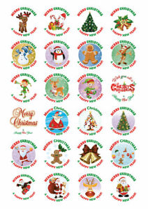 Merry Christmas Happy New Year Stickers Labels Santa presents 24 Mix Designs