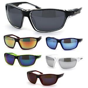 Xloop Mens 2 Tone Plastic Rectangular Sport Warp Sunglasses