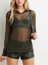 Women Summer Long Sleeve See-through Sheer Mesh Black T-Shirt Blouse Hooded Tops