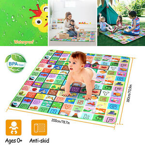 2M Large Baby Kids Crawling Foam Mat Soft Floor Play Mat Picnic Cushion Outdoor