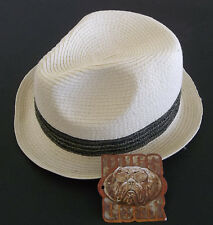 """NWT Pugs Gear  """"Fedora"""" Paper Straw hat  Unisex color Ivory One Size fits most !"""