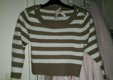 Cute sexy new cropped jumper crop top size 8 stripe knitwear knitted winter top