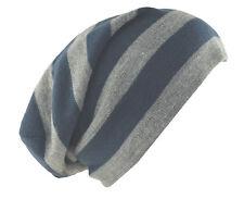 "D&Y Men's Long Beanie Reversible Stripe Knit Hat 12"" Gray Blue"
