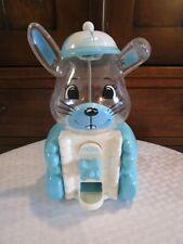 "Vintage Carousel Blue Bunny Rabbit Gumball Machine Plastic 8"" Works"