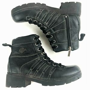 """Harley-Davidson Womens Sz 9.5 Tamia 5.25"""" Lace-Up Zipper Motorcycle Boots D85292"""