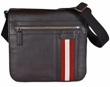 New BALLY Men's $917 Brown Calf Leather Oslo Messenger Crossbody Bag
