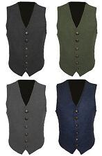 Mens Wool Tweed Slim Fitted Vest Waistcoat Grey Green Navy Blue S M L XL 2XL 3XL