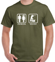 Hunting T-Shirt HUNTER Problem Solved Mens Funny Hunt Clay Pigeon Shooting