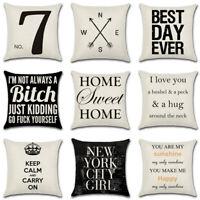 "New 18""*18"" Linen Cotton Letter Throw Pillow Case Cushion Cover Home Sofa Decor"