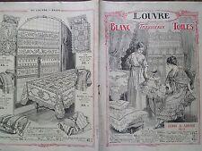 """CATALOGUE MODE 1918 """" AU LOUVRE """" BLANC - TROUSSEAUX - TOILES"""