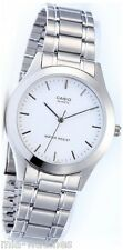 Casio MTP1128A-7A Mens Stainless Steel 50M Dress Watch White Dial Luminous NEW