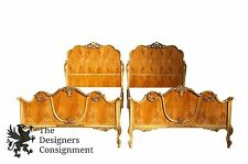 Antique French Provincial Twin Bed Set Birds Eye Maple Regency Style Carved