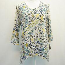 Style & Co Womens Top Printed Crochet Trim Shoulder 3/4 Sleeve Floral V Neck S