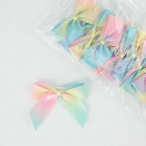 5cm Satin Bows Self Adhesive Rainbow Pastel