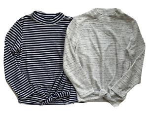 OLD NAVY Girls LOT OF 2 Fleece Mock Neck Tie Hem Long Sleeve Top Shirt NWT LARGE