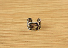 Sterling Silver Ear Cuff Band Earring Mens Womens Tribal Vintage Style Stripe