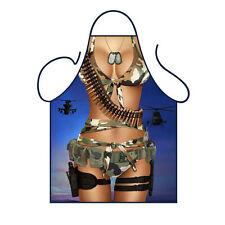 Novelty Kitchen Apron Cooking Soldier Camouflage Bikini Woman Army GI Fun